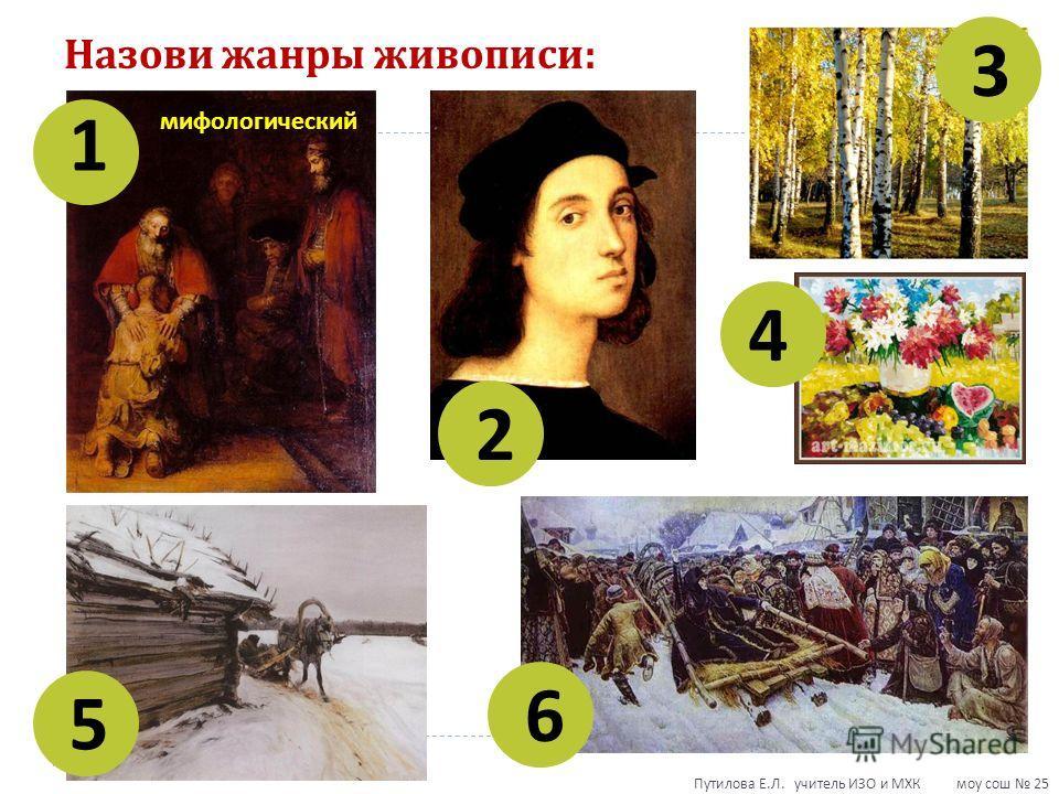 Назови жанры живописи : 1 2 3 4 5 6 мифологический Путилова Е. Л. учитель ИЗО и МХК моу сош 25