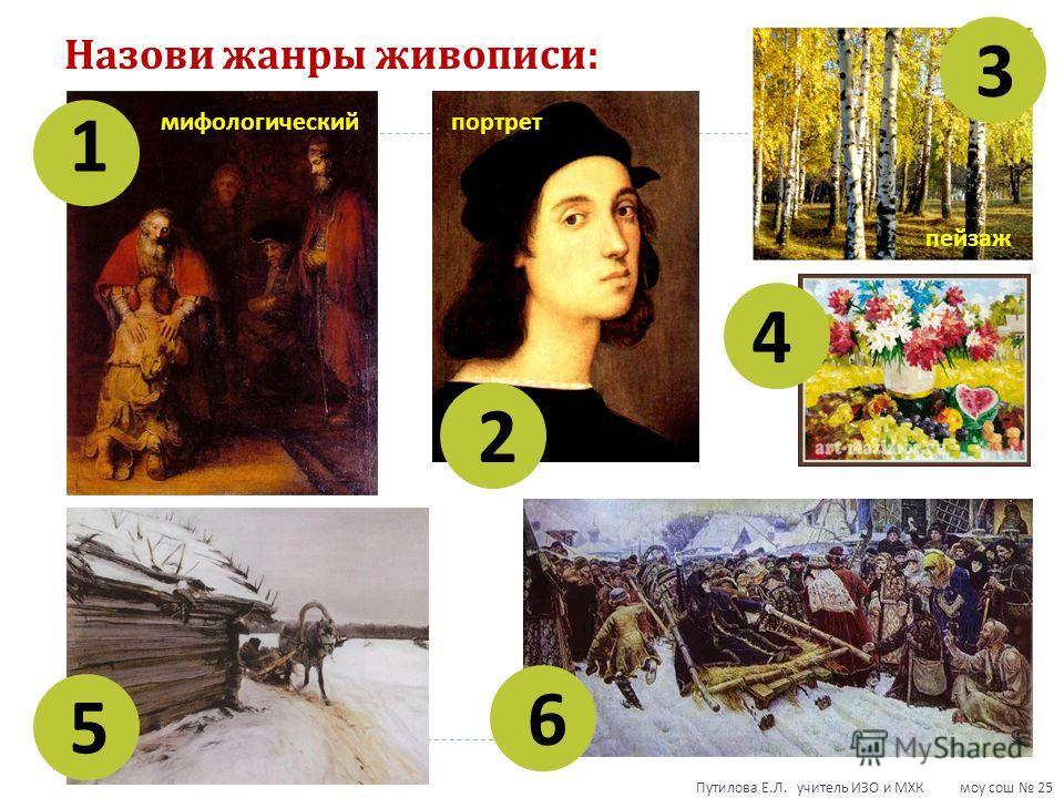 Назови жанры живописи : 1 2 3 4 5 6 мифологическийпортрет пейзаж Путилова Е. Л. учитель ИЗО и МХК моу сош 25