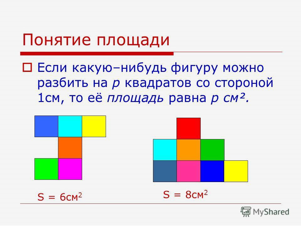 Понятие площади Если какую–нибудь фигуру можно разбить на р квадратов со стороной 1см, то её площадь равна р см². S = 6см 2 S = 8см 2