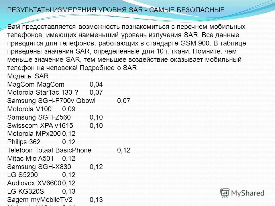 РЕЗУЛЬТАТЫ ИЗМЕРЕНИЯ УРОВНЯ SAR - САМЫЕ БЕЗОПАСНЫЕ Вам предоставляется возможность познакомиться с перечнем мобильных телефонов, имеющих наименьший уровень излучения SAR. Все данные приводятся для телефонов, работающих в стандарте GSM 900. В таблице
