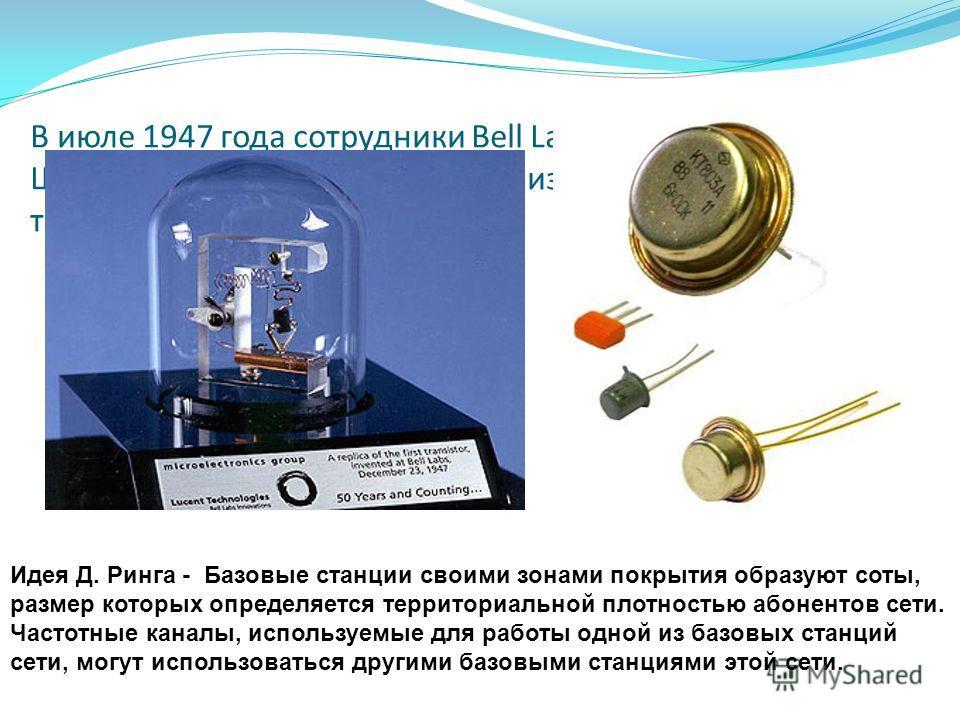 В июле 1947 года сотрудники Bell Laboratories У. Шокли, Дж. Бардин и У. Браттайн изобрели транзистор. Идея Д. Ринга - Базовые станции своими зонами покрытия образуют соты, размер которых определяется территориальной плотностью абонентов сети. Частотн