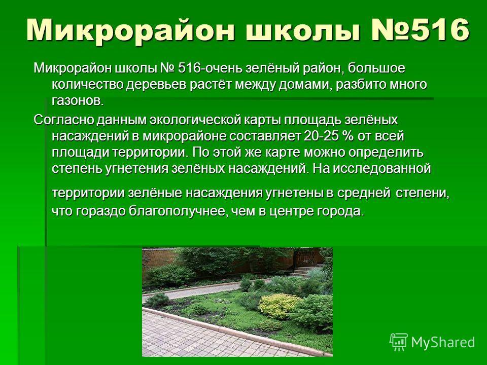Микрорайон школы 516 Микрорайон школы 516-очень зелёный район, большое количество деревьев растёт между домами, разбито много газонов. Согласно данным экологической карты площадь зелёных насаждений в микрорайоне составляет 20-25 % от всей площади тер