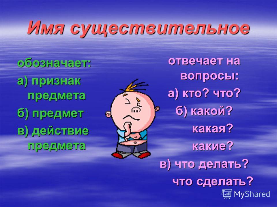 обозначает: а) признак предмета б) предмет в) действие предмета отвечает на вопросы: а) кто? что? б) какой? какая? какая? какие? какие? в) что делать? что сделать? что сделать?