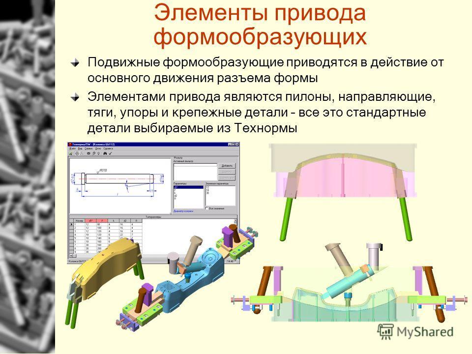 Элементы привода формообразующих Подвижные формообразующие приводятся в действие от основного движения разъема формы Элементами привода являются пилоны, направляющие, тяги, упоры и крепежные детали – все это стандартные детали выбираемые из Технормы