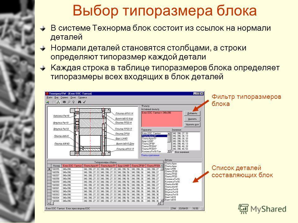 Выбор типоразмера блока В системе Технорма блок состоит из ссылок на нормали деталей Нормали деталей становятся столбцами, а строки определяют типоразмер каждой детали Каждая строка в таблице типоразмеров блока определяет типоразмеры всех входящих в