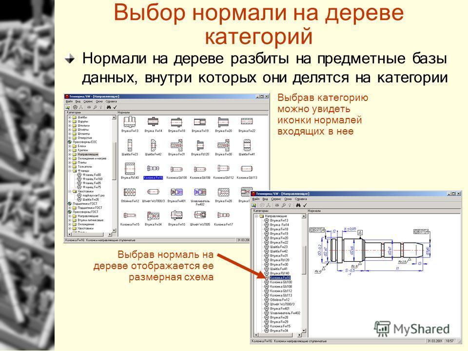 Выбор нормали на дереве категорий Выбрав категорию можно увидеть иконки нормалей входящих в нее Выбрав нормаль на дереве отображается ее размерная схема Нормали на дереве разбиты на предметные базы данных, внутри которых они делятся на категории