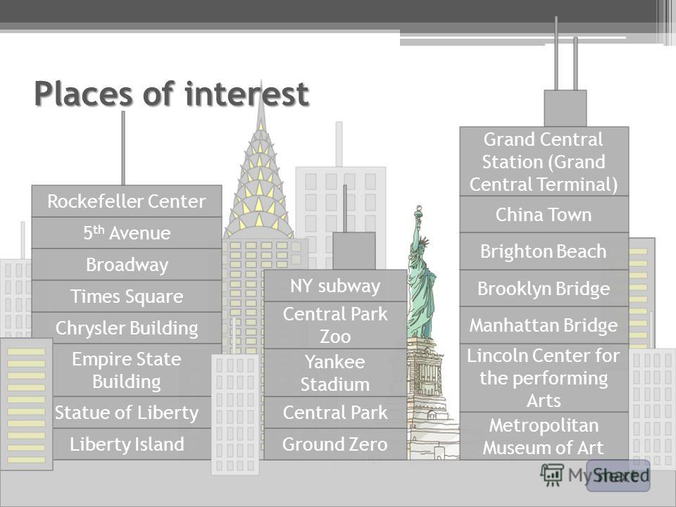 Places of interest 5 th Avenue Liberty Island Broadway Chrysler Building Empire State Building Times Square Statue of Liberty Ground Zero Central Park Yankee Stadium Metropolitan Museum of Art Rockefeller Center Central Park Zoo Lincoln Center for th