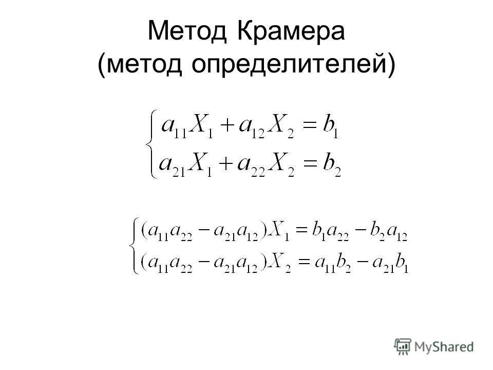 Метод Крамера (метод определителей)
