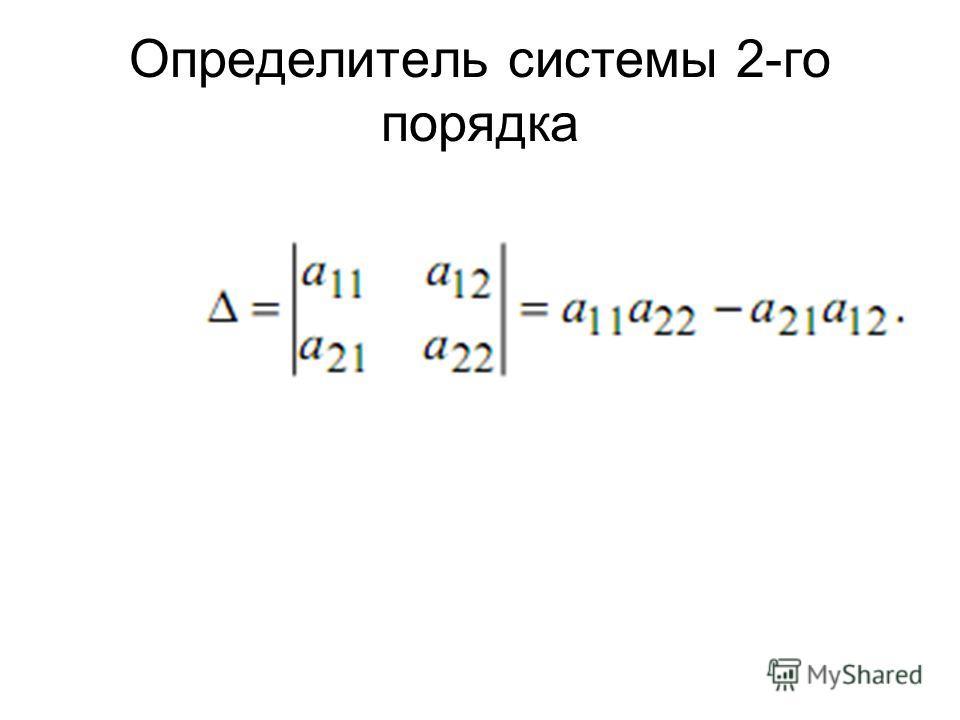 Определитель системы 2-го порядка