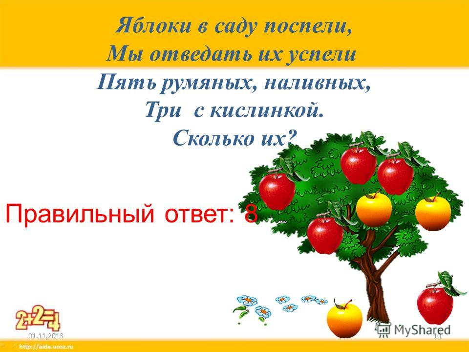 Яблоки в саду поспели, Мы отведать их успели Пять румяных, наливных, Три с кислинкой. Сколько их? 01.11.201310 Правильный ответ: 8