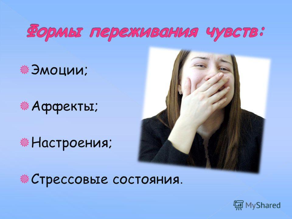 Эмоции; Аффекты; Настроения; Стрессовые состояния.