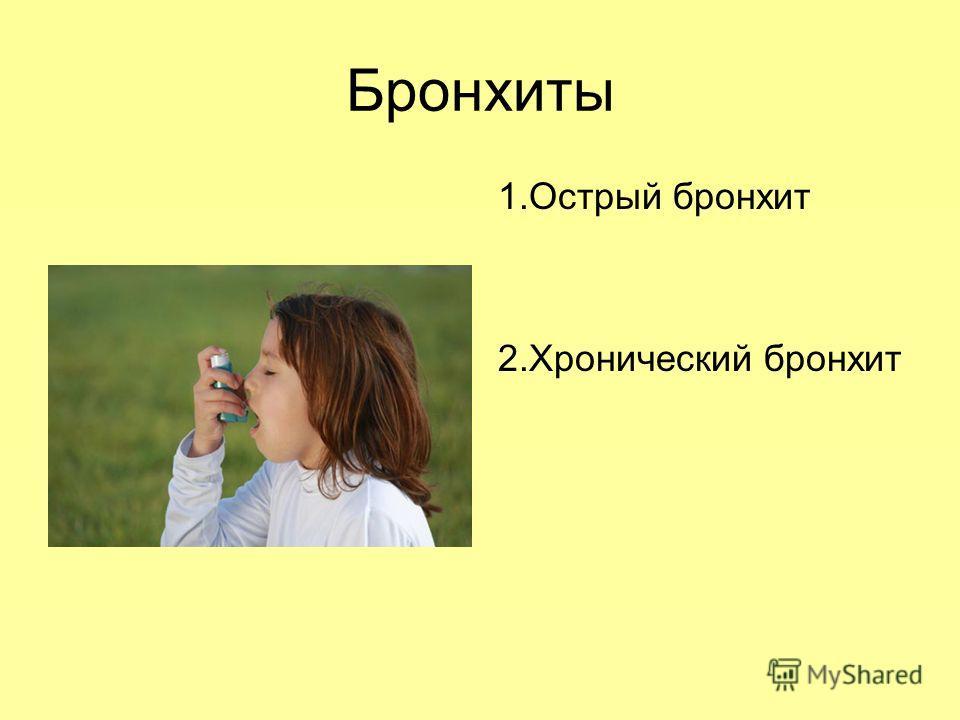 Бронхиты 1.Острый бронхит 2.Хронический бронхит