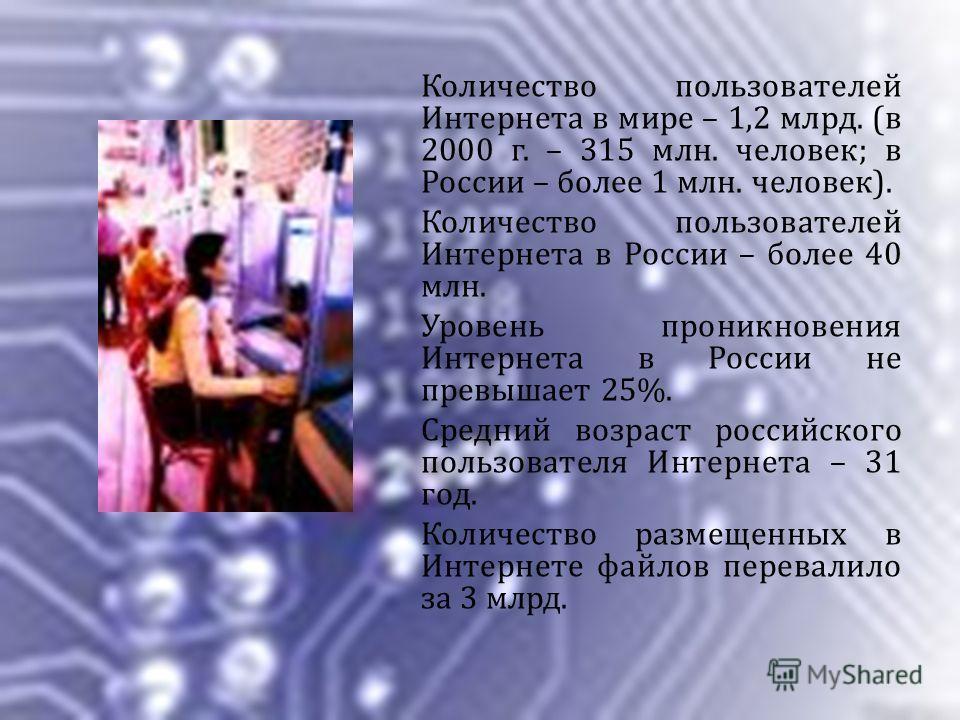 Количество пользователей Интернета в мире – 1,2 млрд. (в 2000 г. – 315 млн. человек; в России – более 1 млн. человек). Количество пользователей Интернета в России – более 40 млн. Уровень проникновения Интернета в России не превышает 25%. Средний возр