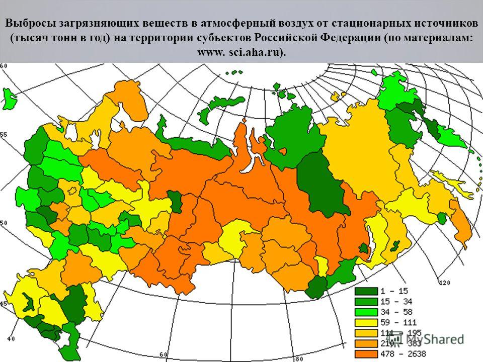 Выбросы загрязняющих веществ в атмосферный воздух от стационарных источников (тысяч тонн в год) на территории субъектов Российской Федерации (по материалам: www. sci.aha.ru).
