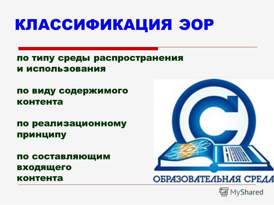КЛАССИФИКАЦИЯ ЭОР по типу среды распространения и использования по виду содержимого контента по реализационному принципу по составляющим входящего контента