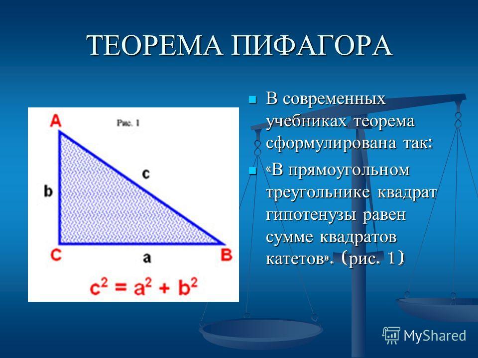 ТЕОРЕМА ПИФАГОРА В современных учебниках теорема сформулирована так : « В прямоугольном треугольнике квадрат гипотенузы равен сумме квадратов катетов ». ( рис. 1)