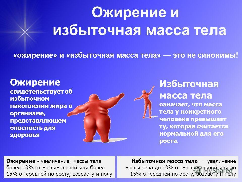 Ожирение и избыточная масса тела «ожирение» и «избыточная масса тела» это не синонимы! Избыточная масса тела означает, что масса тела у конкретного человека превышает ту, которая считается нормальной для его роста. Ожирение свидетельствует об избыточ