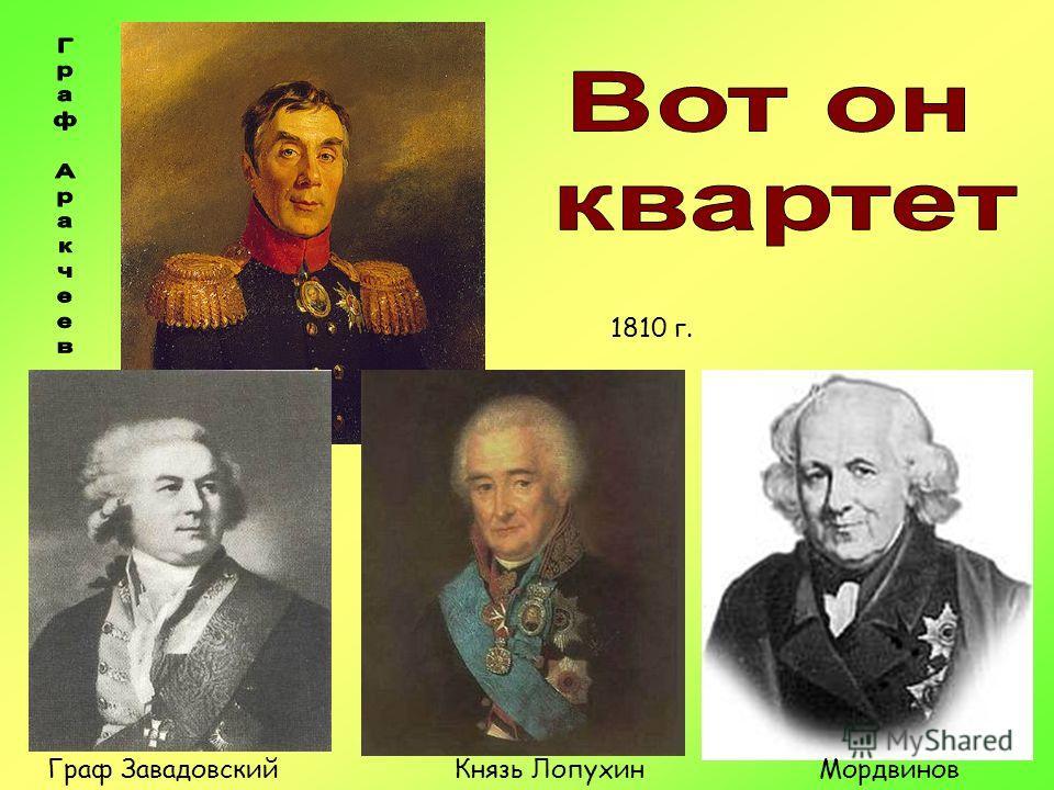 Мордвинов Граф ЗавадовскийКнязь Лопухин 1810 г.