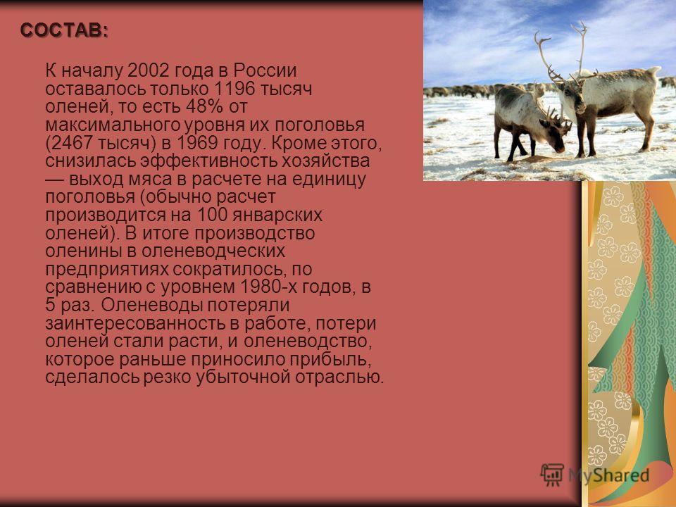 СОСТАВ: К началу 2002 года в России оставалось только 1196 тысяч оленей, то есть 48% от максимального уровня их поголовья (2467 тысяч) в 1969 году. Кроме этого, снизилась эффективность хозяйства выход мяса в расчете на единицу поголовья (обычно расче