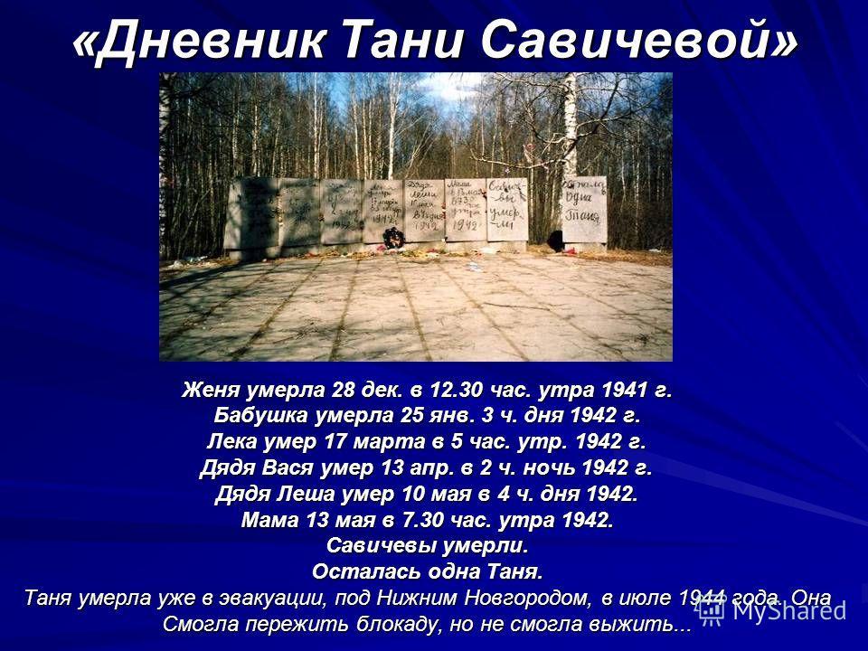 «Дневник Тани Савичевой» Женя умерла 28 дек. в 12.30 час. утра 1941 г. Бабушка умерла 25 янв. 3 ч. дня 1942 г. Лека умер 17 марта в 5 час. утр. 1942 г. Дядя Вася умер 13 апр. в 2 ч. ночь 1942 г. Дядя Леша умер 10 мая в 4 ч. дня 1942. Мама 13 мая в 7.