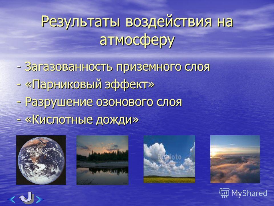 Результаты воздействия на атмосферу - Загазованность приземного слоя - «Парниковый эффект» - Разрушение озонового слоя - «Кислотные дожди»