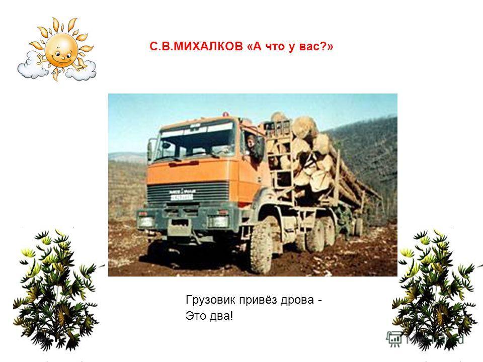 Грузовик привёз дрова - Это два! С.В.МИХАЛКОВ «А что у вас?»