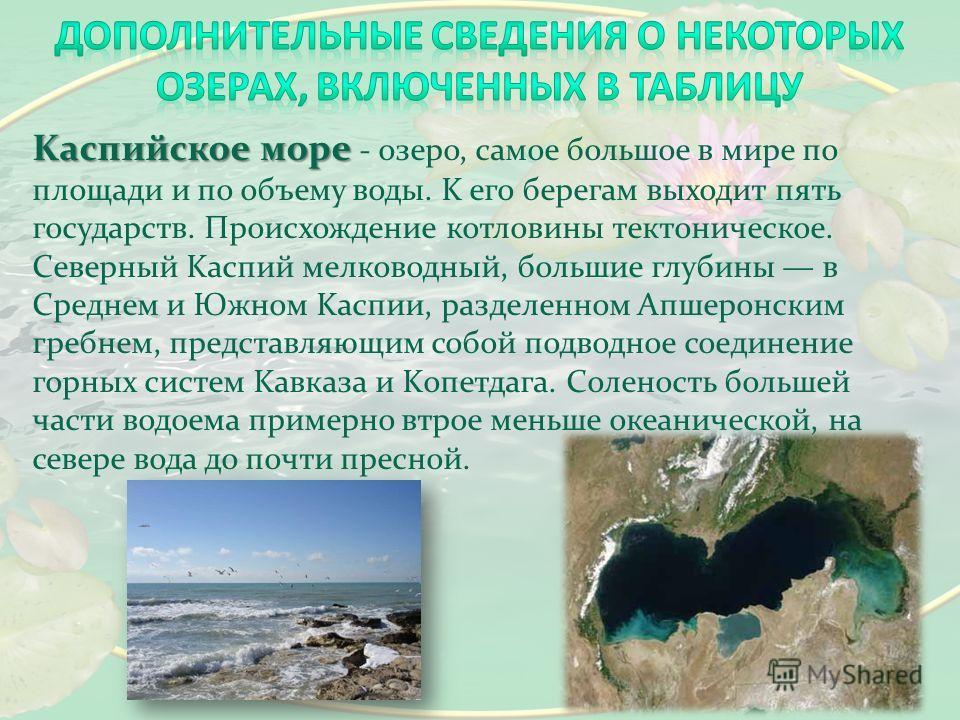 Kаспийское море Kаспийское море - озеро, самое большое в мире по площади и по объему воды. K его берегам выходит пять государств. Происхождение котловины тектоническое. Северный Kаспий мелководный, большие глубины в Среднем и Южном Kаспии, разделенно