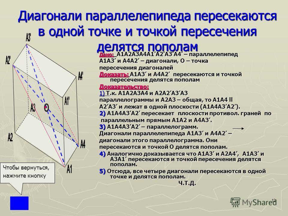 12 Диагонали параллелепипеда пересекаются в одной точке и точкой пересечения делятся пополам Дано: Дано: A1A2A3A4A1A2A3A4 – параллелепипед А1А3 и A4A2 – диагонали, О – точка пересечения диагоналей Доказать: Доказать: А1А3 и A4A2 пересекаются и точкой