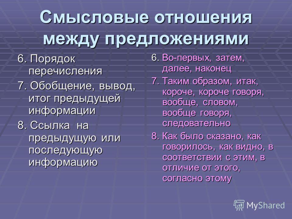 Смысловые отношения между предложениями 6. Порядок перечисления 7. Обобщение, вывод, итог предыдущей информации 8. Ссылка на предыдущую или последующую информацию 6. Во-первых, затем, далее, наконец 7. Таким образом, итак, короче, короче говоря, вооб