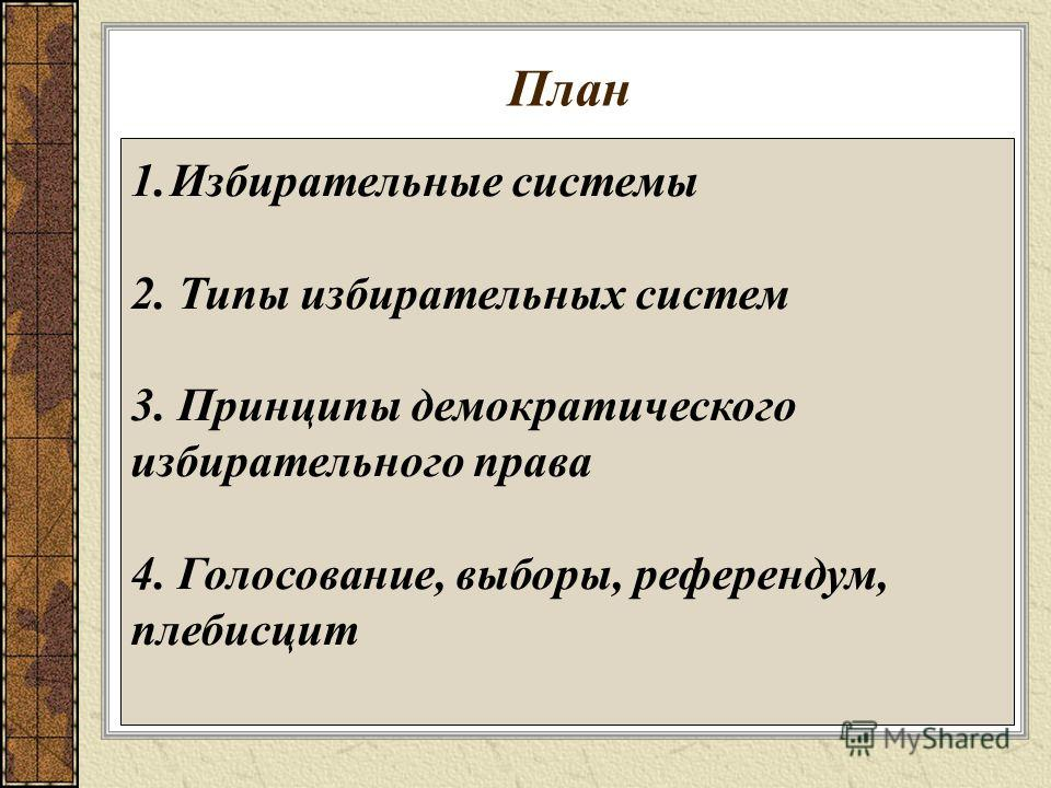Презентация на тему Голосование выборы референдумы Уроки  3 План 1