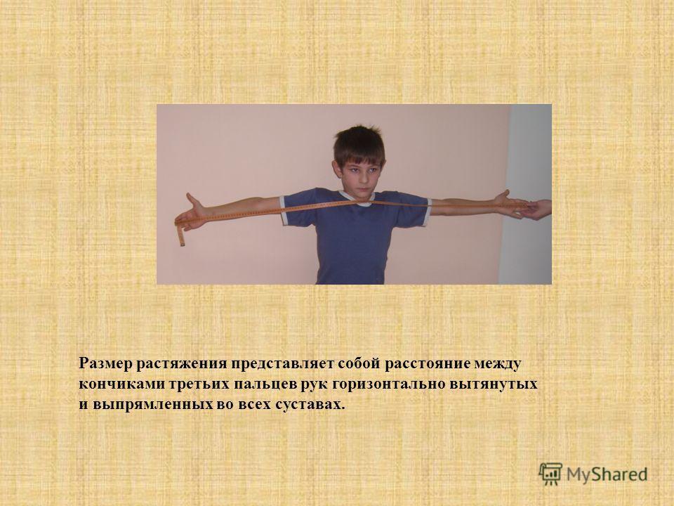 Размер растяжения представляет собой расстояние между кончиками третьих пальцев рук горизонтально вытянутых и выпрямленных во всех суставах.