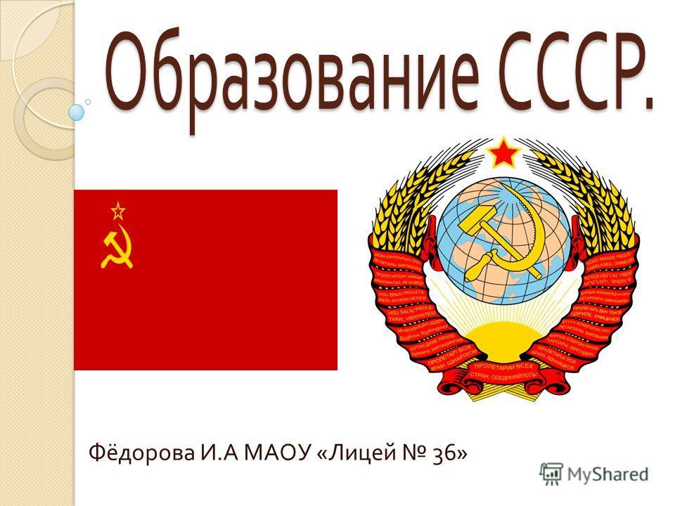 Фёдорова И. А МАОУ « Лицей 36»