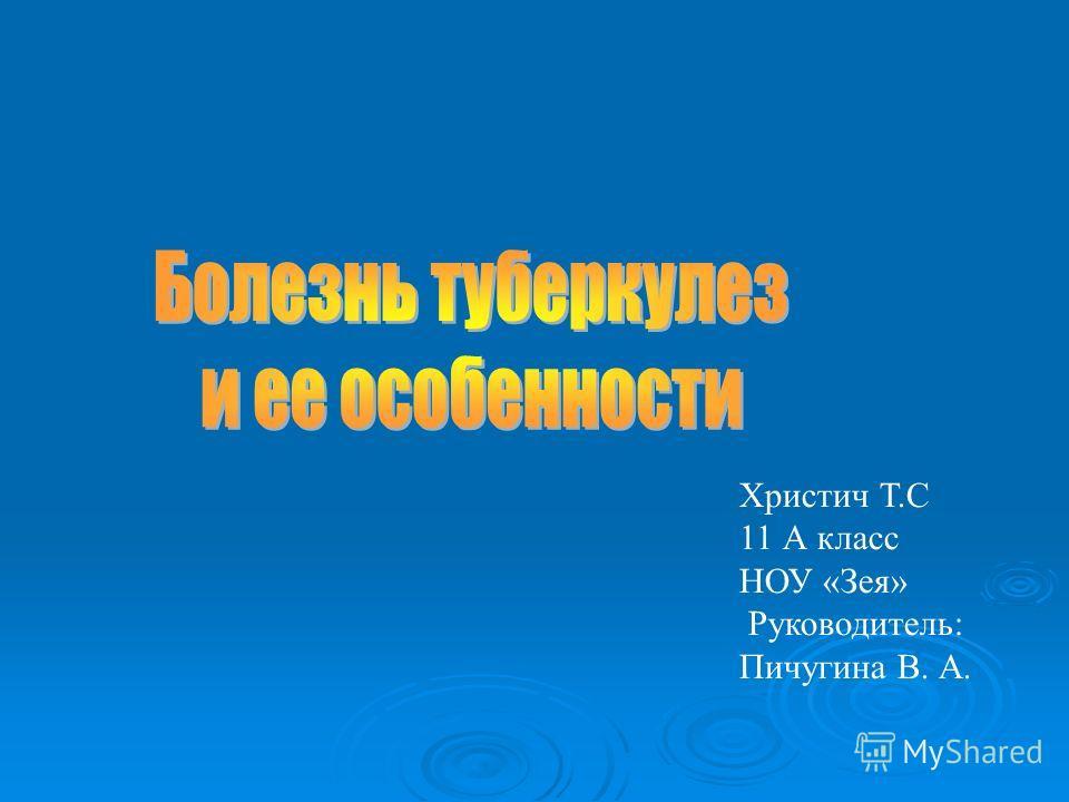 Христич Т.С 11 А класс НОУ «Зея» Руководитель: Пичугина В. А.