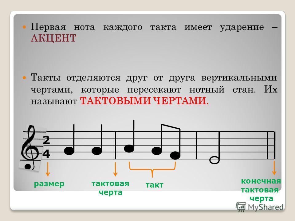 Первая нота каждого такта имеет ударение – АКЦЕНТ Такты отделяются друг от друга вертикальными чертами, которые пересекают нотный стан. Их называют ТАКТОВЫМИ ЧЕРТАМИ. 2424 размер тактовая черта конечная тактовая черта такт