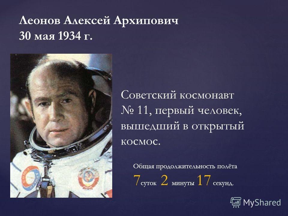 Леонов Алексей Архипович 30 мая 1934 г. Советский космонавт 11, первый человек, вышедший в открытый космос. Общая продолжительность полёта 7 суток 2 минуты 17 секунд.