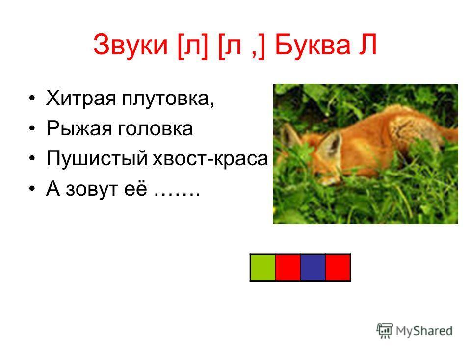 Звуки [л] [л,] Буква Л Хитрая плутовка, Рыжая головка Пушистый хвост-краса А зовут её …….