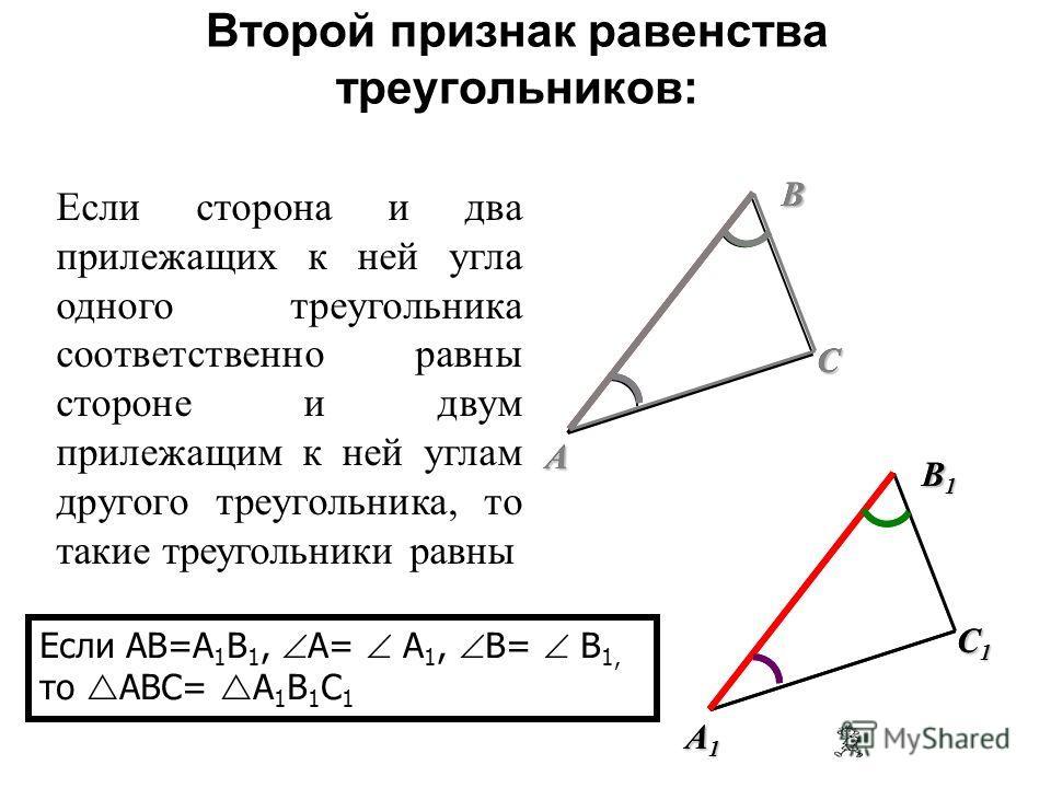 ABC Если две стороны и угол между ними одного треугольника соответственно равны двум сторонам и углу между ними другого треугольника, то такие треугольники равны Если AB=A 1 B 1, AC=A 1 C 1, A= A 1, то ABC= A 1 B 1 C 1 Первый признак равенства треуго
