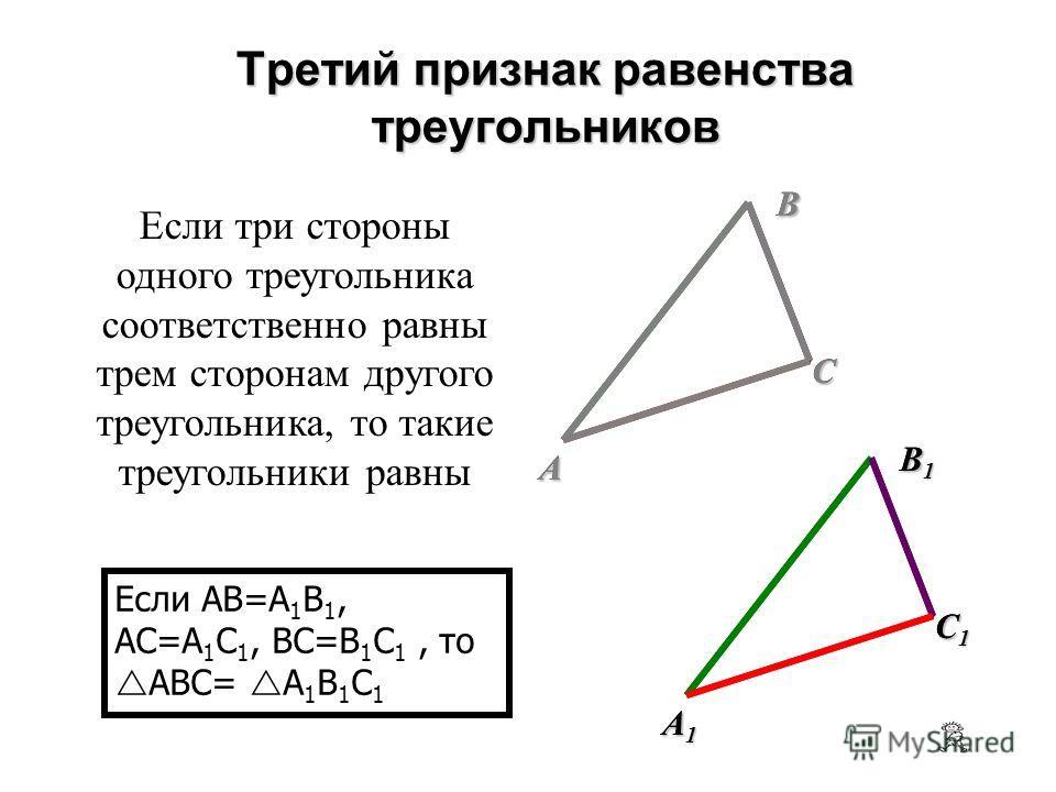Если сторона и два прилежащих к ней угла одного треугольника соответственно равны стороне и двум прилежащим к ней углам другого треугольника, то такие треугольники равны Если AB=A 1 B 1, A= A 1, B= B 1, то ABC= A 1 B 1 C 1 Второй признак равенства тр