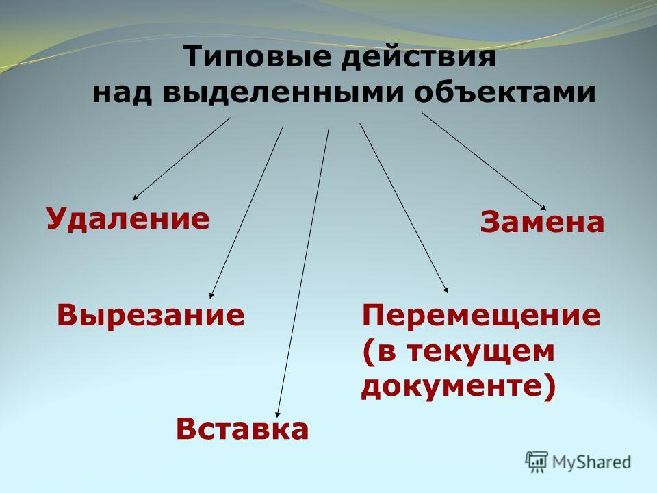Типовые действия над выделенными объектами Удаление Вырезание Вставка Перемещение (в текущем документе) Замена