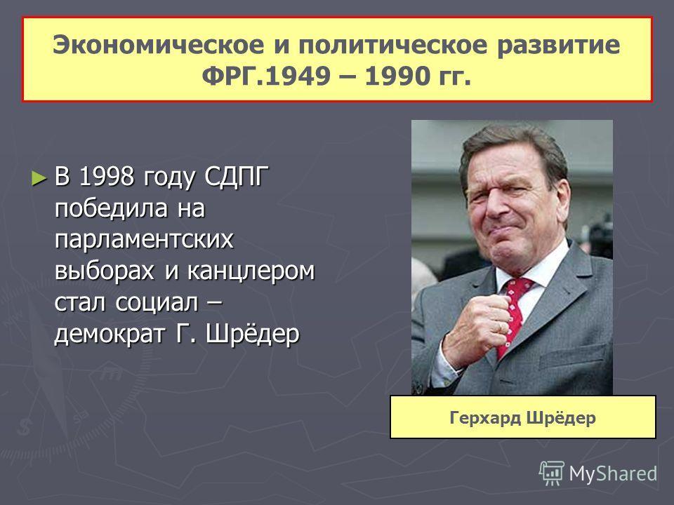 В 1998 году СДПГ победила на парламентских выборах и канцлером стал социал – демократ Г. Шрёдер В 1998 году СДПГ победила на парламентских выборах и к