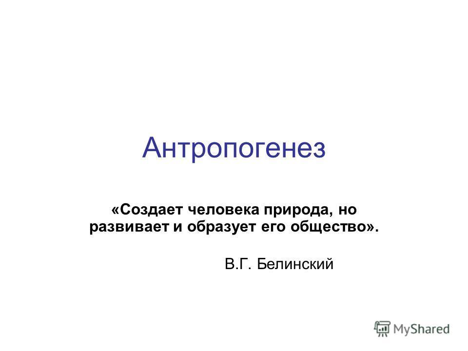Антропогенез «Создает человека природа, но развивает и образует его общество». В.Г. Белинский