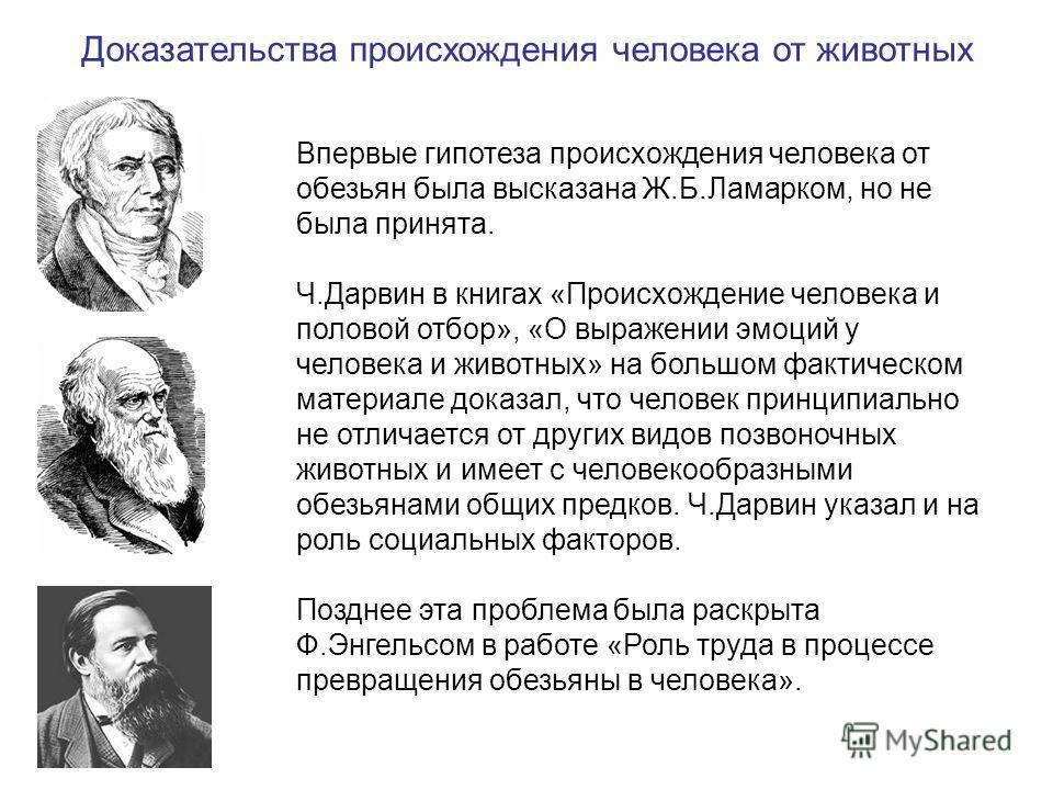 Впервые гипотеза происхождения человека от обезьян была высказана Ж.Б.Ламарком, но не была принята. Ч.Дарвин в книгах «Происхождение человека и половой отбор», «О выражении эмоций у человека и животных» на большом фактическом материале доказал, что ч
