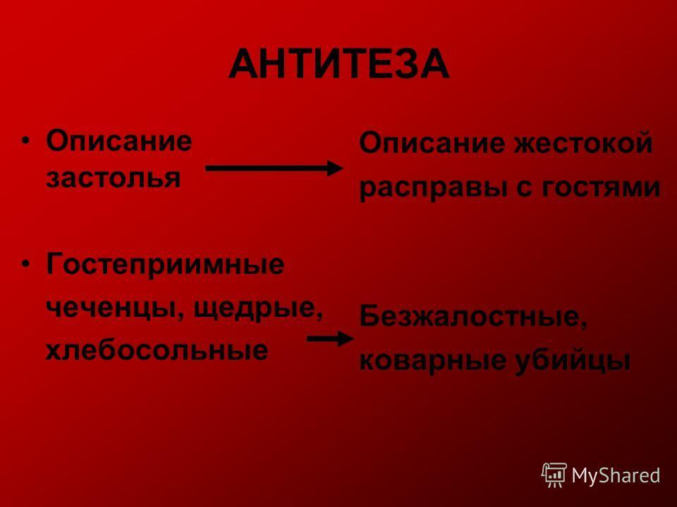 АНТИТЕЗА Описание застолья Гостеприимные чеченцы, щедрые, хлебосольные Описание жестокой расправы с гостями Безжалостные, коварные убийцы