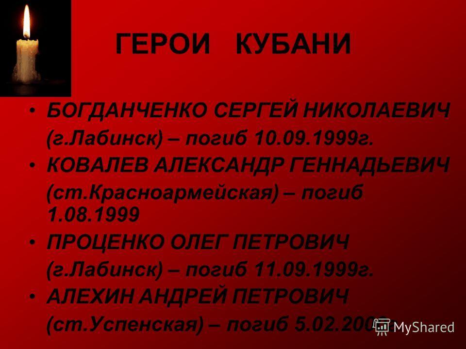 ГЕРОИ КУБАНИ БОГДАНЧЕНКО СЕРГЕЙ НИКОЛАЕВИЧ (г.Лабинск) – погиб 10.09.1999г. КОВАЛЕВ АЛЕКСАНДР ГЕННАДЬЕВИЧ (ст.Красноармейская) – погиб 1.08.1999 ПРОЦЕНКО ОЛЕГ ПЕТРОВИЧ (г.Лабинск) – погиб 11.09.1999г. АЛЕХИН АНДРЕЙ ПЕТРОВИЧ (ст.Успенская) – погиб 5.0