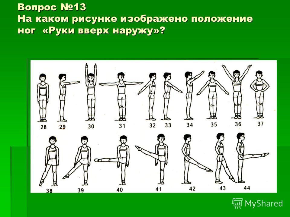 Вопрос 13 На каком рисунке изображено положение ног «Руки вверх наружу»?