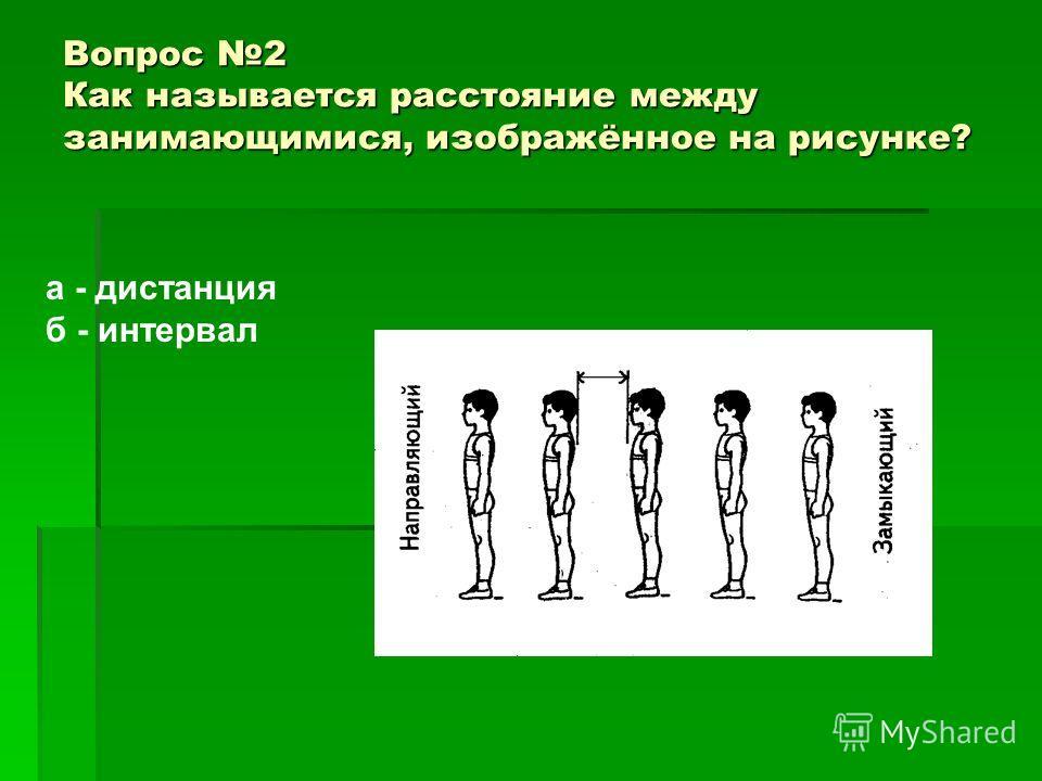 Вопрос 2 Как называется расстояние между занимающимися, изображённое на рисунке? а - дистанция б - интервал