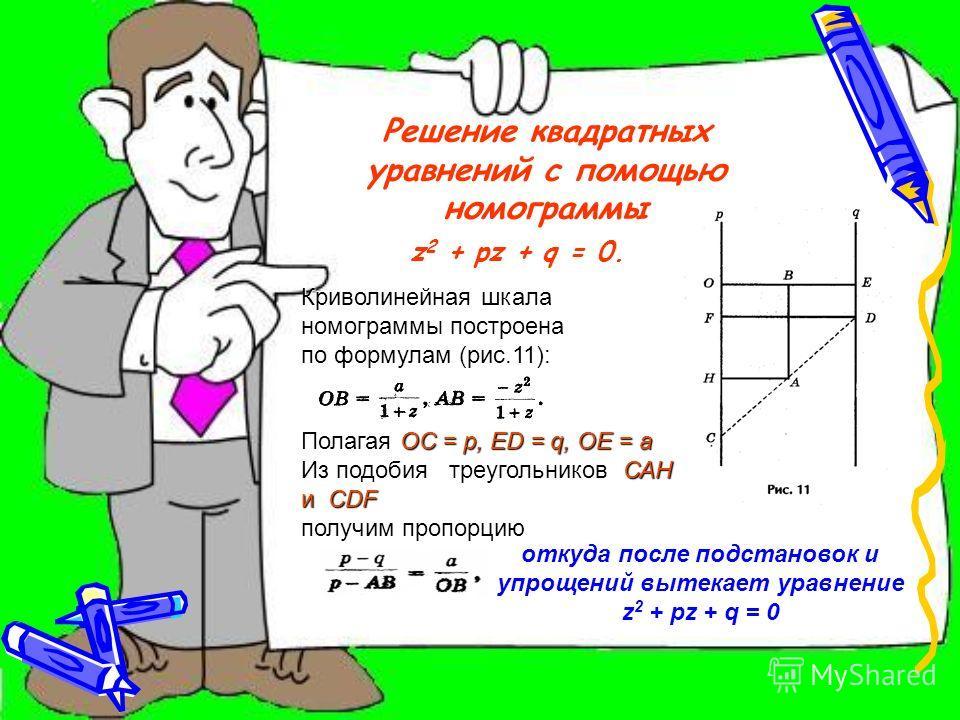Пример: Решим уравнение х 2 - 2х - 3 = 0 (рис. 7). Решение. Определим координаты точки центра окружности по формулам: Проведем окружность радиуса SA, где А (0; 1). Ответ: х 1 = - 1; х 2 = 3.