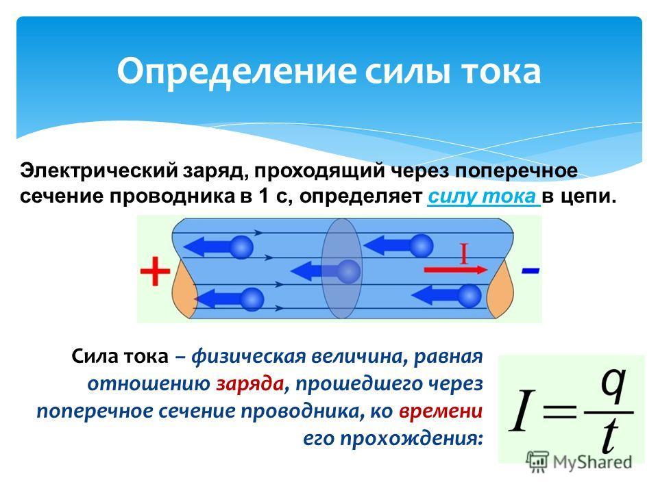 Сила тока – физическая величина, равная отношению заряда, прошедшего через поперечное сечение проводника, ко времени его прохождения: Определение силы тока Электрический заряд, проходящий через поперечное сечение проводника в 1 с, определяет силу ток