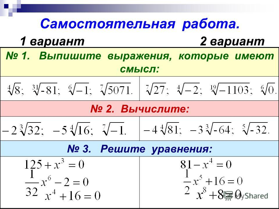 Самостоятельная работа. 1. Выпишите выражения, которые имеют смысл: 2. Вычислите: 3. Решите уравнения: 1 вариант2 вариант