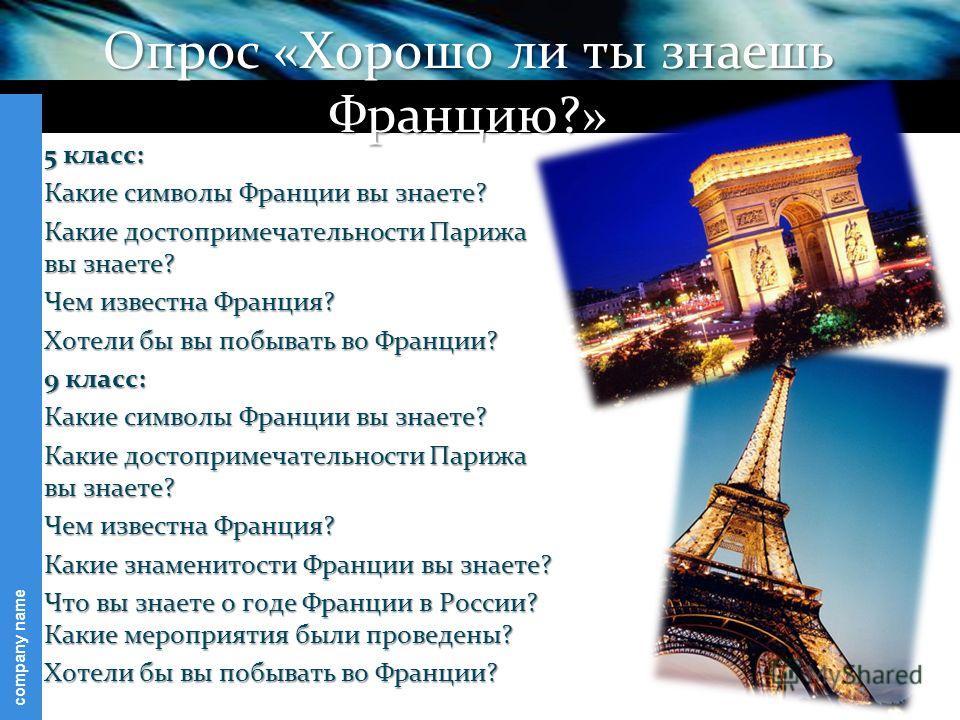 company name Опрос «Хорошо ли ты знаешь Францию?» 5 класс: Какие символы Франции вы знаете? Какие достопримечательности Парижа вы знаете? Чем известна Франция? Хотели бы вы побывать во Франции? 9 класс: Какие символы Франции вы знаете? Какие достопри